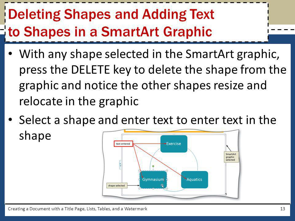 Deleting Shapes and Adding Text to Shapes in a SmartArt Graphic