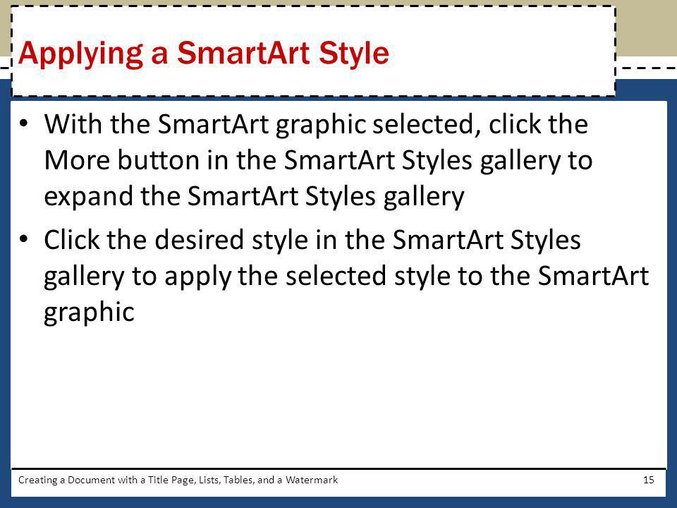 Applying a SmartArt Style