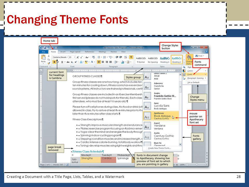 Changing Theme Fonts Creating a Document with a Title Page, Lists, Tables, and a Watermark