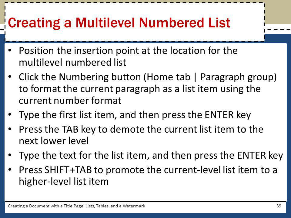 Creating a Multilevel Numbered List