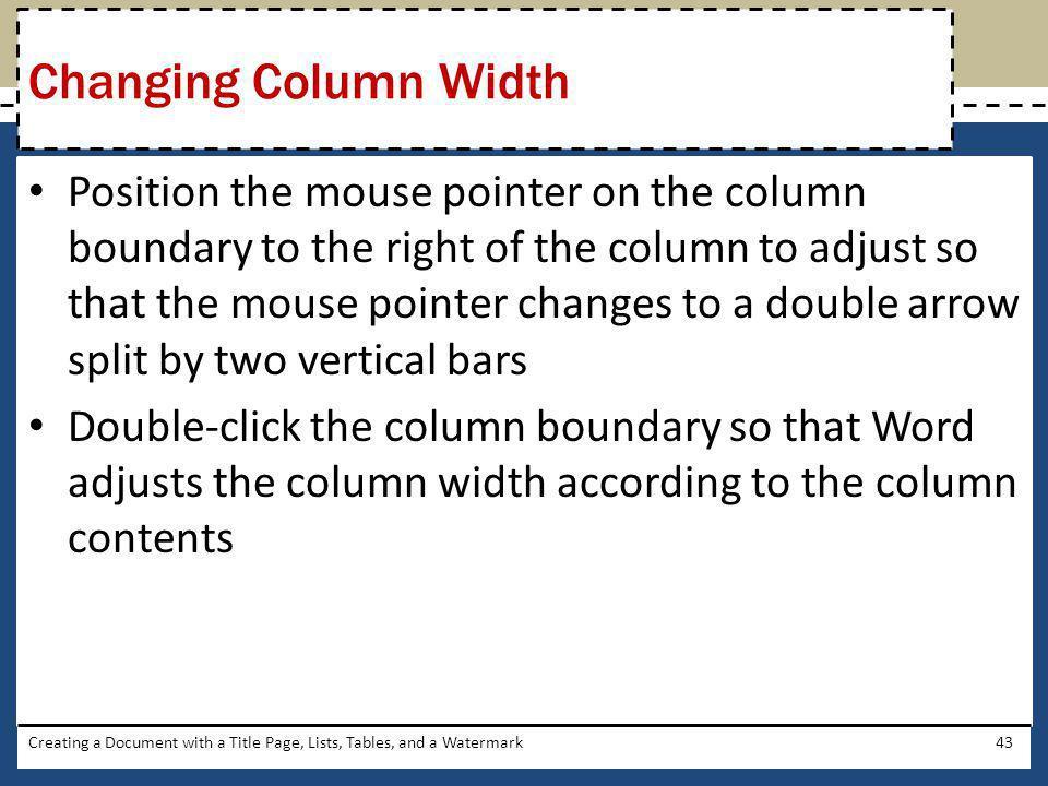 Changing Column Width