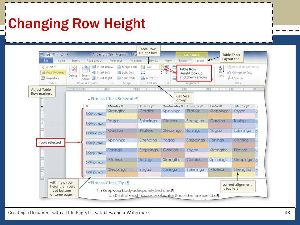 Changing Row Height Creating a Document with a Title Page, Lists, Tables, and a Watermark