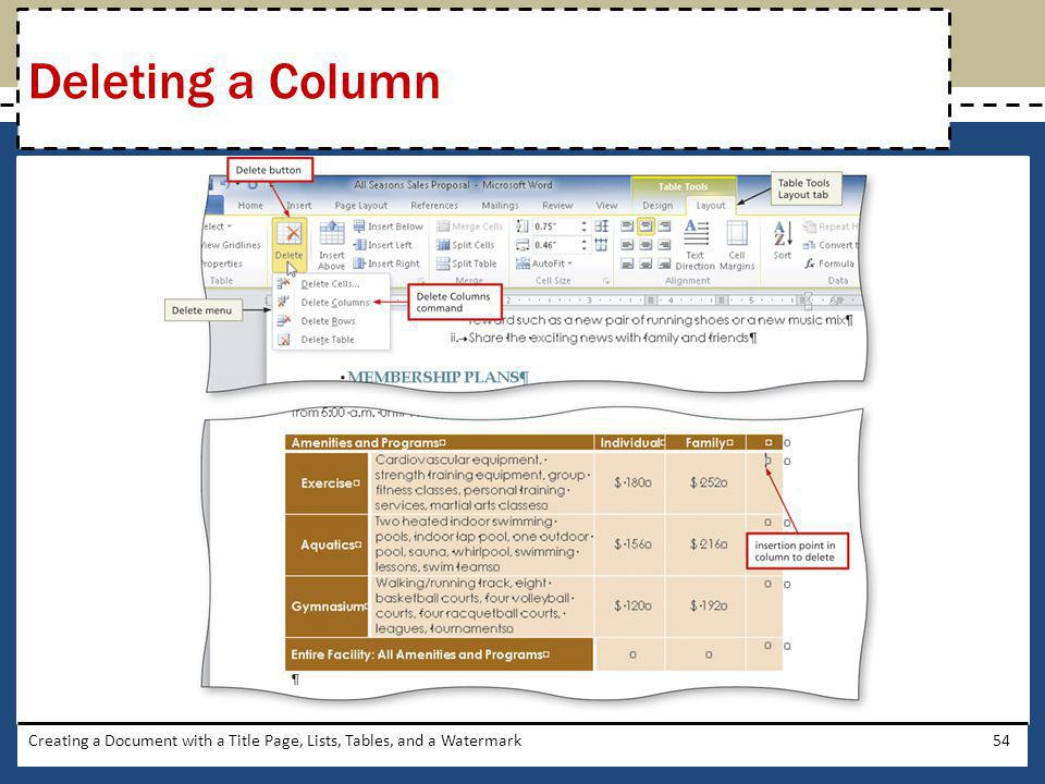 Deleting a Column Creating a Document with a Title Page, Lists, Tables, and a Watermark
