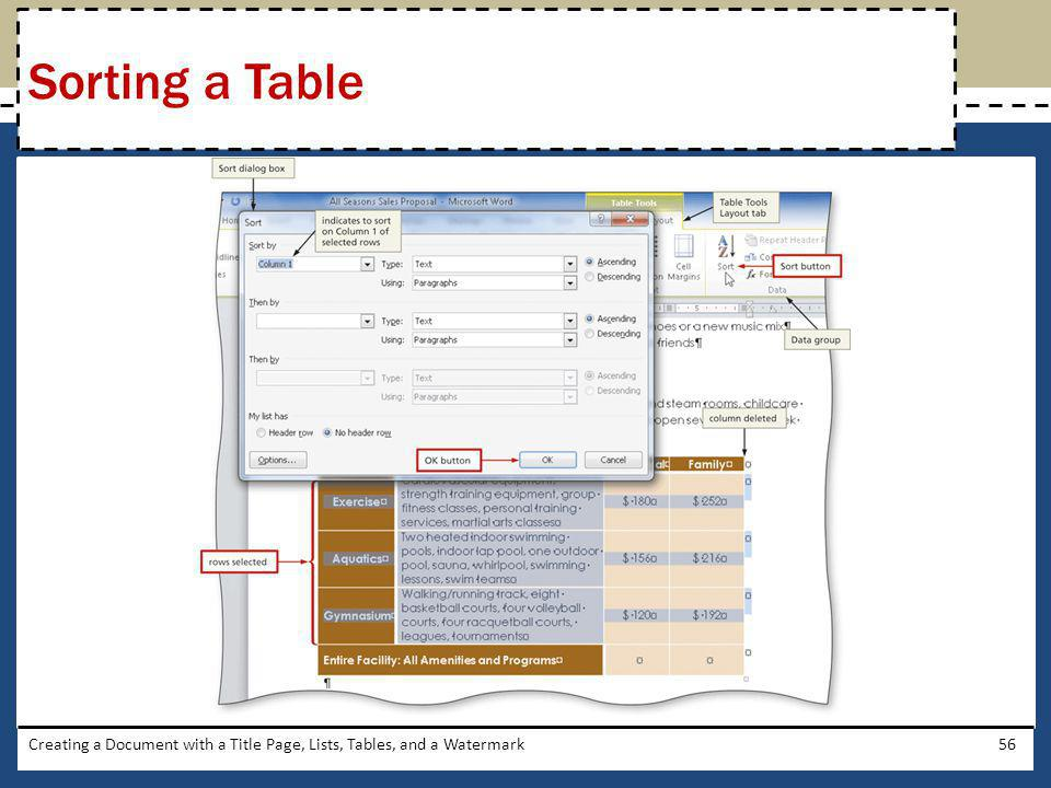 Sorting a Table Creating a Document with a Title Page, Lists, Tables, and a Watermark