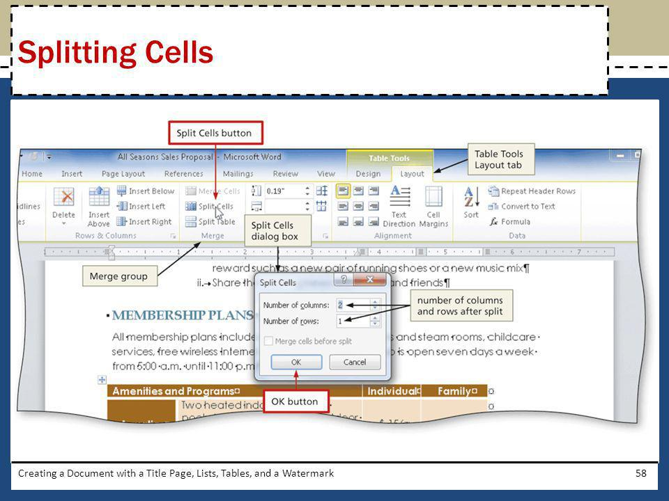 Splitting Cells Creating a Document with a Title Page, Lists, Tables, and a Watermark