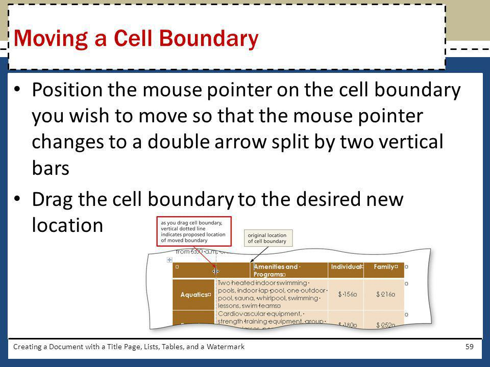 Moving a Cell Boundary