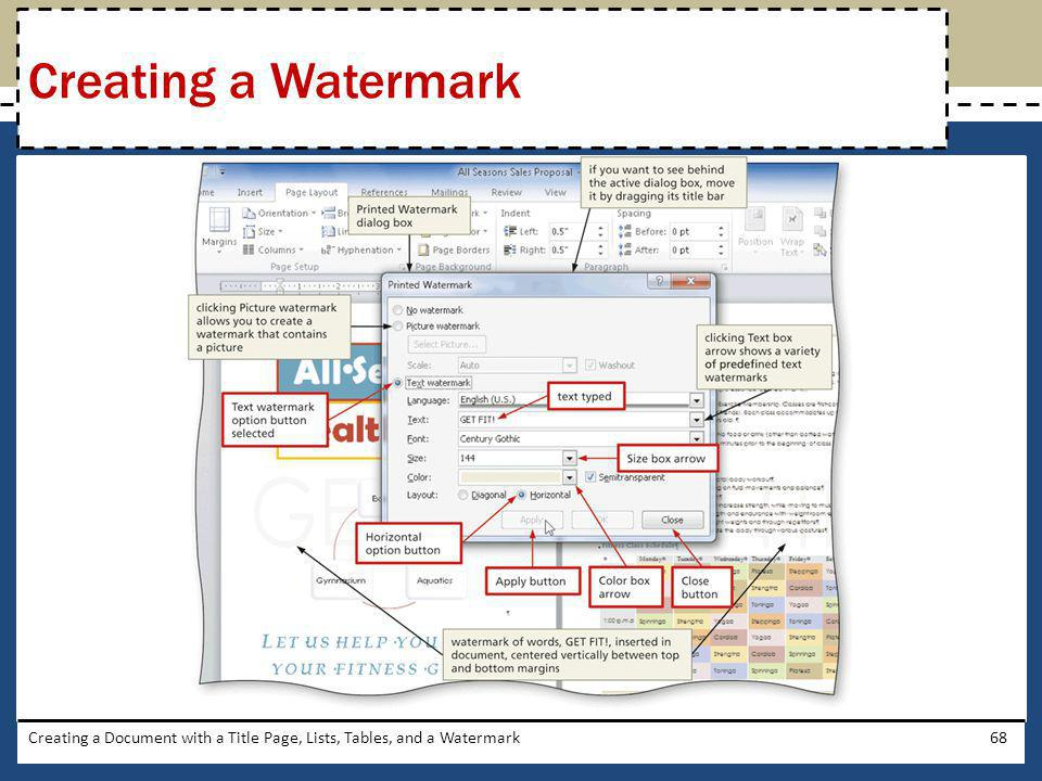 Creating a Watermark Creating a Document with a Title Page, Lists, Tables, and a Watermark