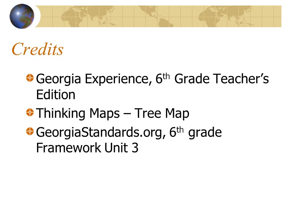 Credits Georgia Experience, 6th Grade Teacher's Edition