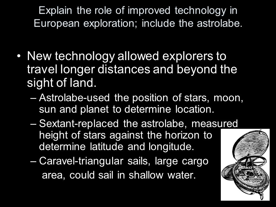 Explain the role of improved technology in European exploration; include the astrolabe.