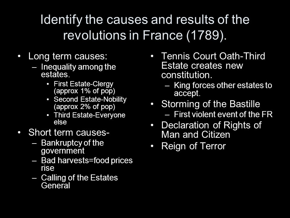 Identify the causes and results of the revolutions in France (1789).