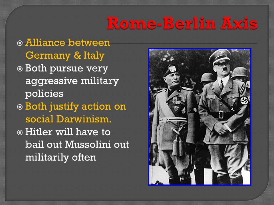 Rome-Berlin Axis Alliance between Germany & Italy
