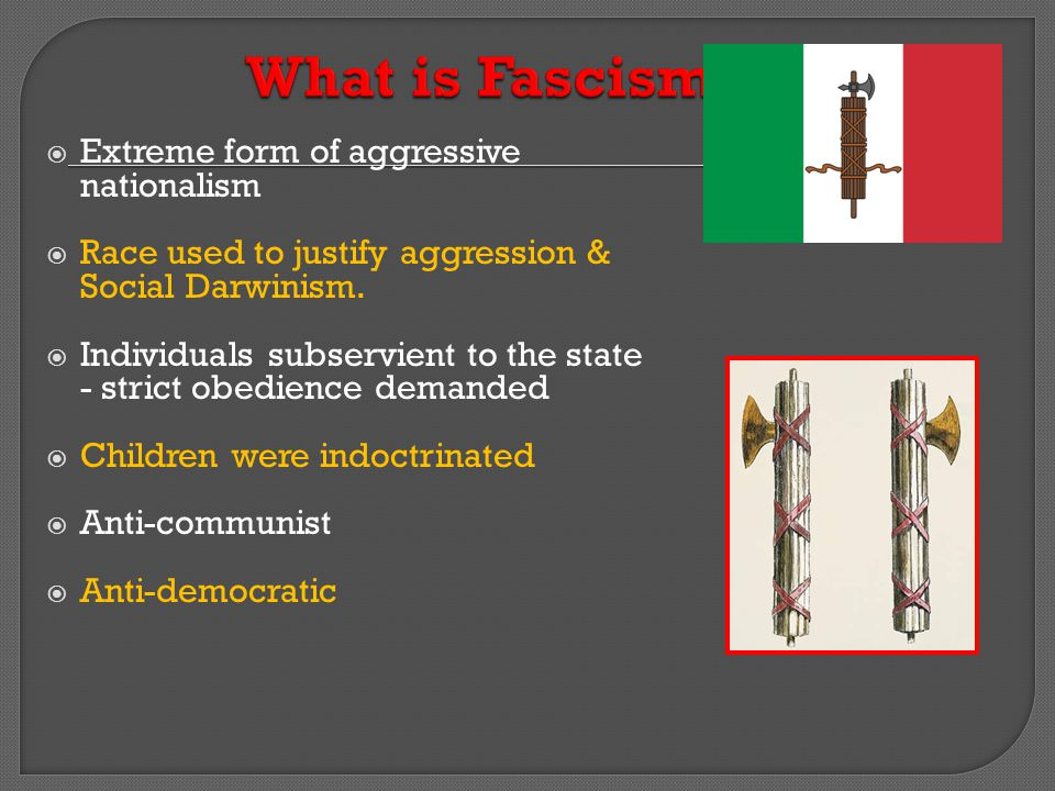 What is Fascism Extreme form of aggressive nationalism