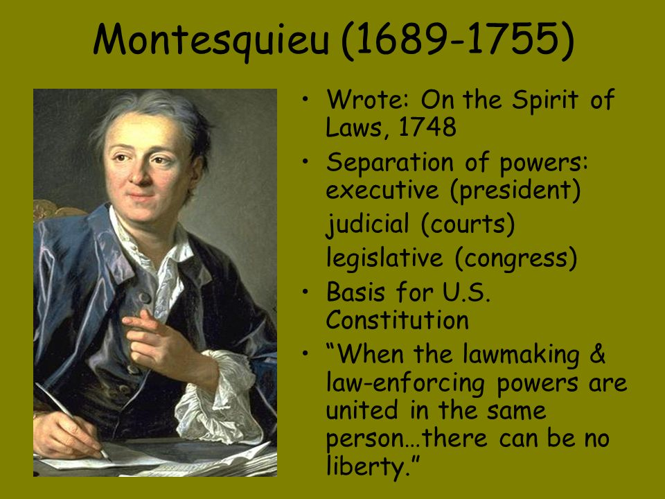 Montesquieu (1689-1755) Wrote: On the Spirit of Laws, 1748