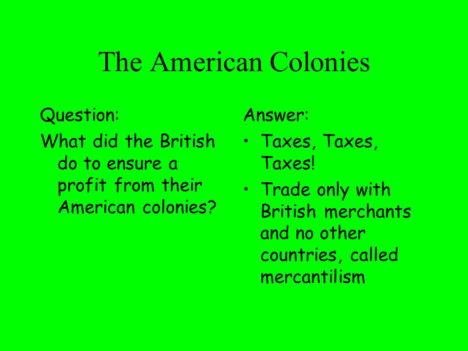The American Colonies Question: