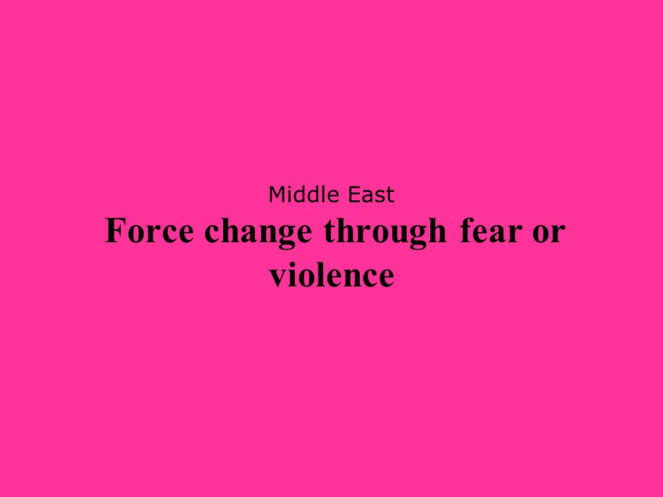 Middle East Force change through fear or violence
