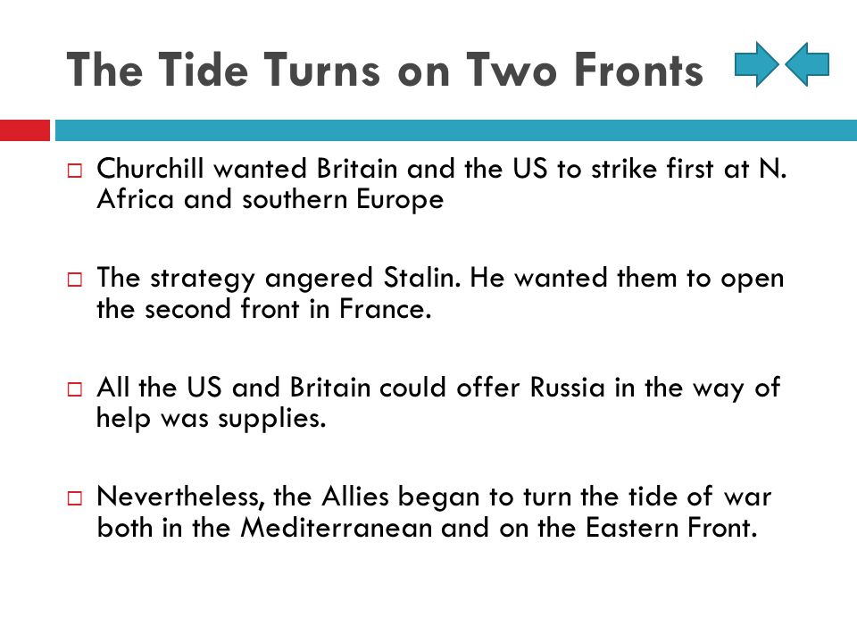 The Tide Turns on Two Fronts