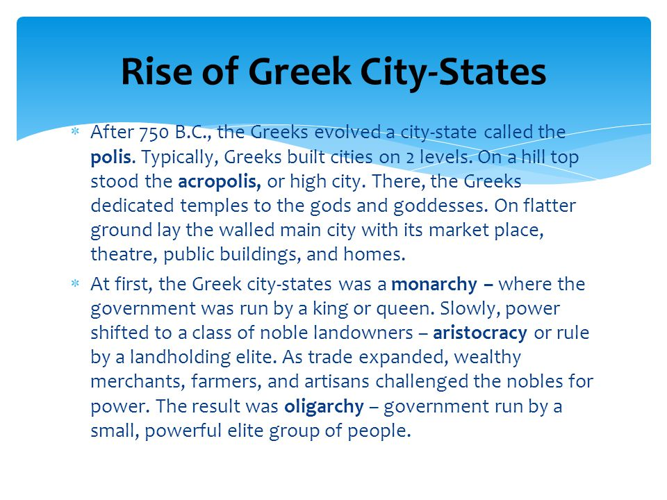 Rise of Greek City-States