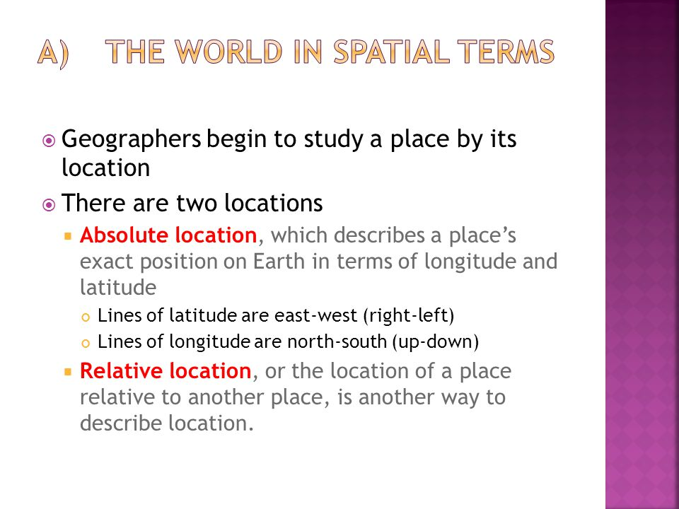 A) The World in Spatial Terms