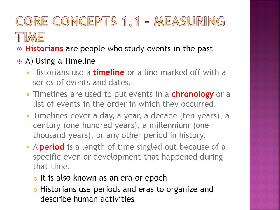 Core Concepts 1.1 – Measuring Time