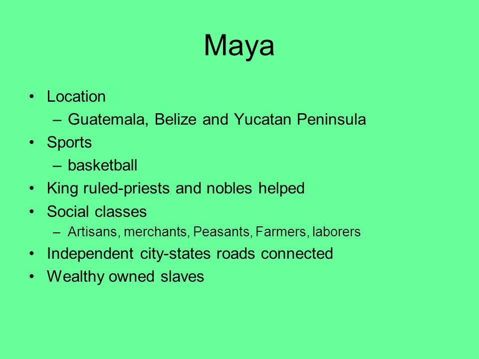 Maya Location Guatemala, Belize and Yucatan Peninsula Sports