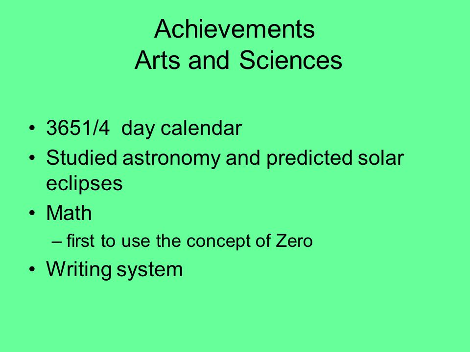 Achievements Arts and Sciences