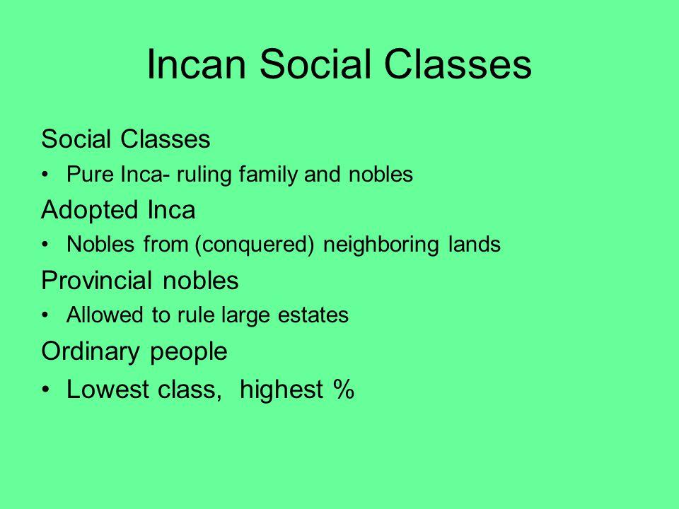 Incan Social Classes Social Classes Adopted Inca Provincial nobles