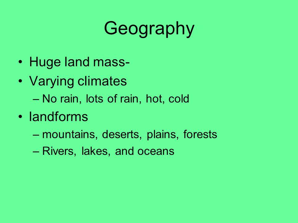 Geography Huge land mass- Varying climates landforms