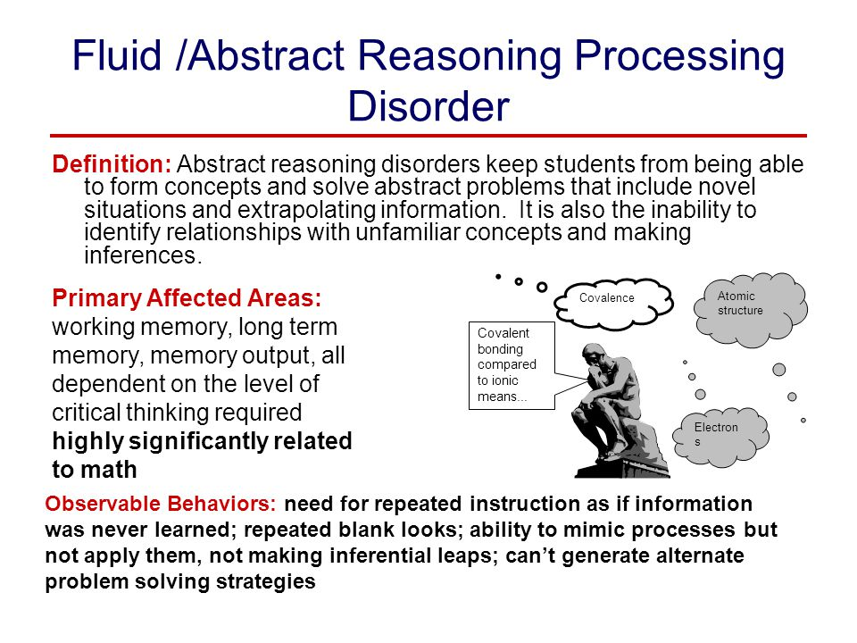 Fluid /Abstract Reasoning Processing Disorder