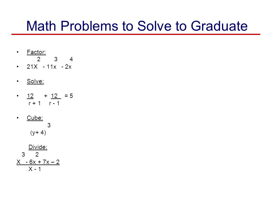 Math Problems to Solve to Graduate