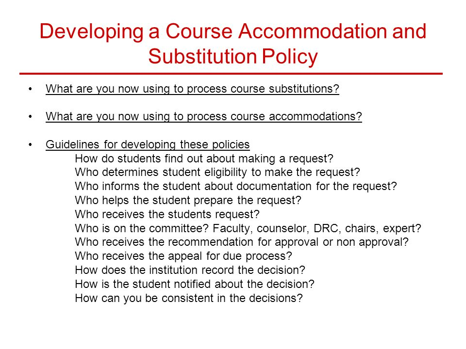 Developing a Course Accommodation and Substitution Policy