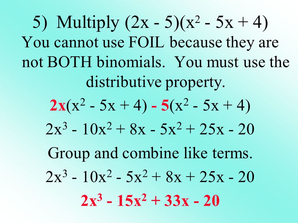 Group and combine like terms.