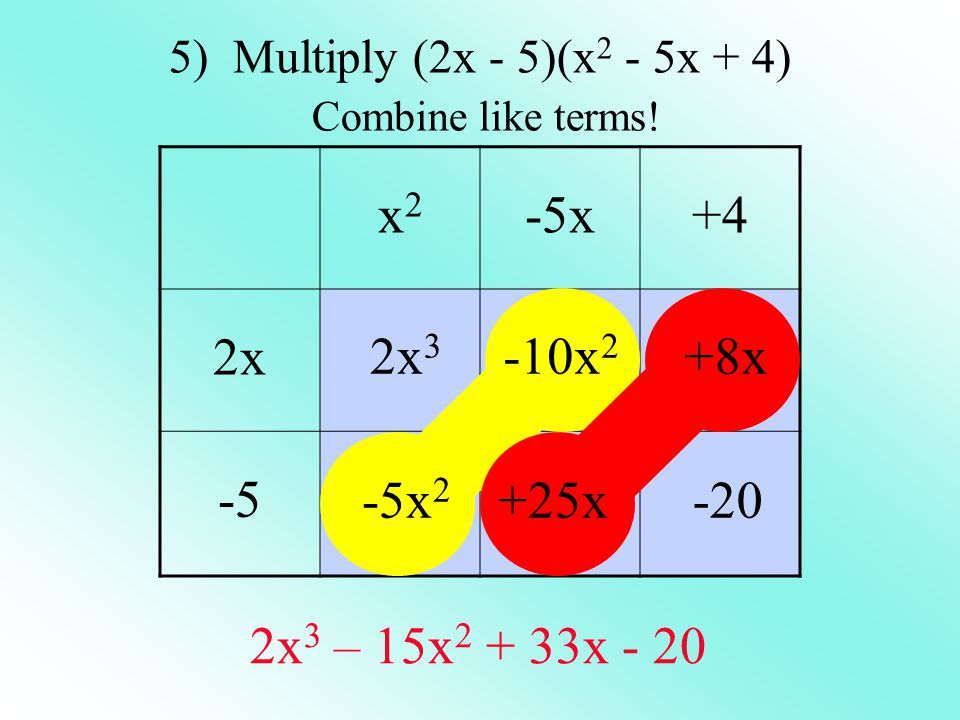 5) Multiply (2x - 5)(x2 - 5x + 4) Combine like terms!