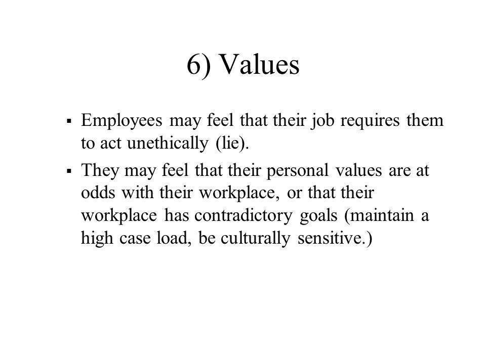 6) Values Employees may feel that their job requires them to act unethically (lie).