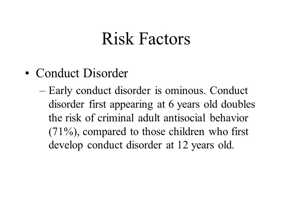 Risk Factors Conduct Disorder