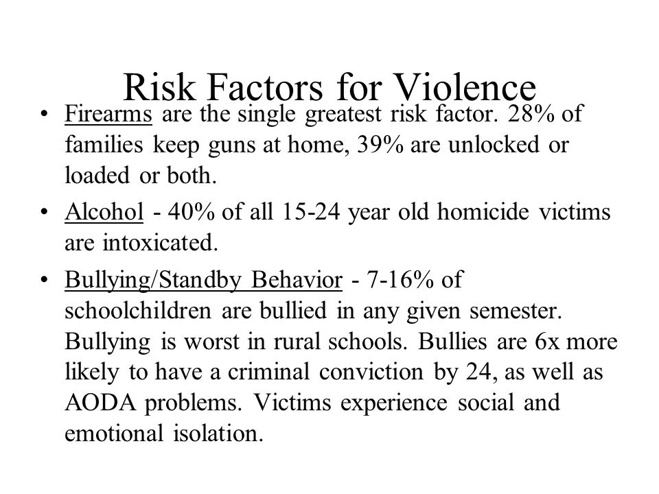 Risk Factors for Violence