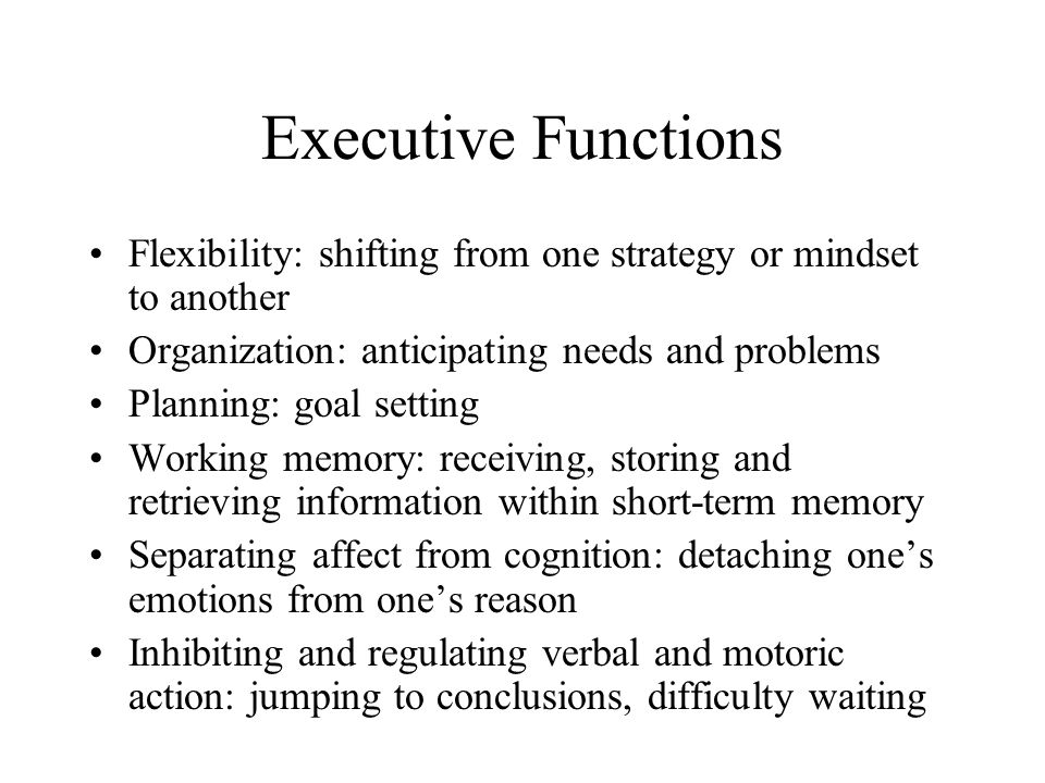 Executive Functions Flexibility: shifting from one strategy or mindset to another. Organization: anticipating needs and problems.