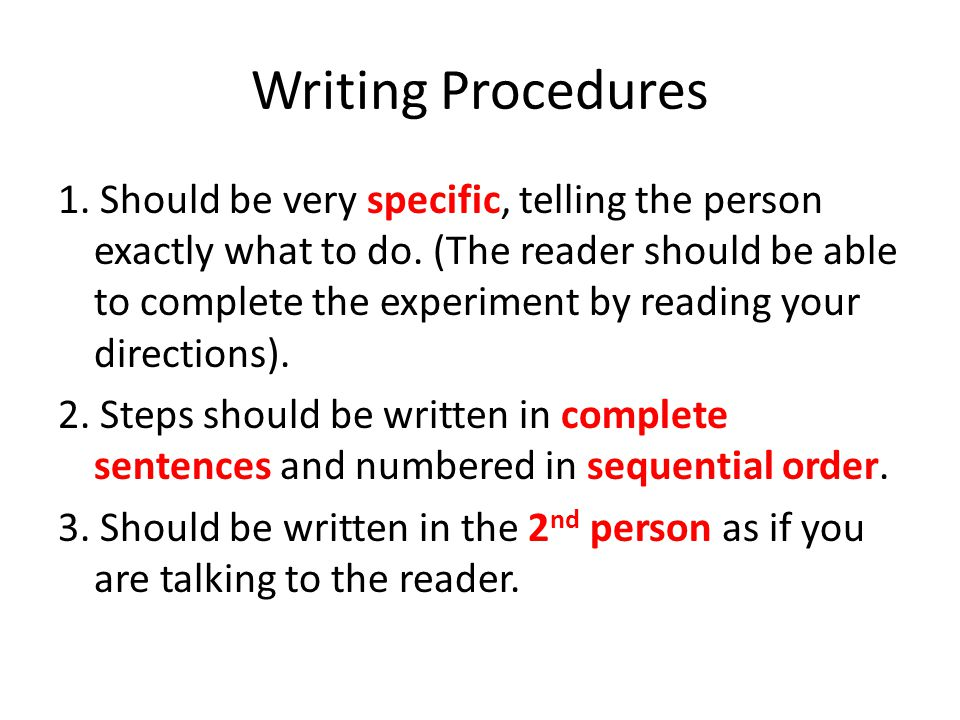Writing Procedures