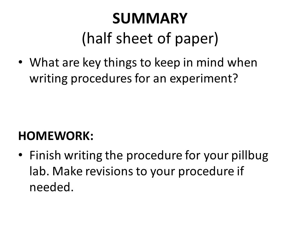 SUMMARY (half sheet of paper)