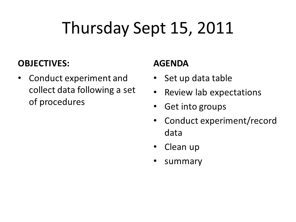 Thursday Sept 15, 2011 OBJECTIVES: AGENDA