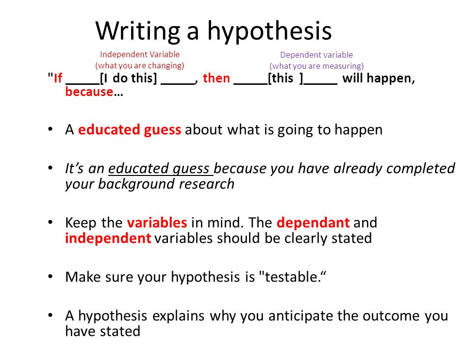 Writing a hypothesis A educated guess about what is going to happen