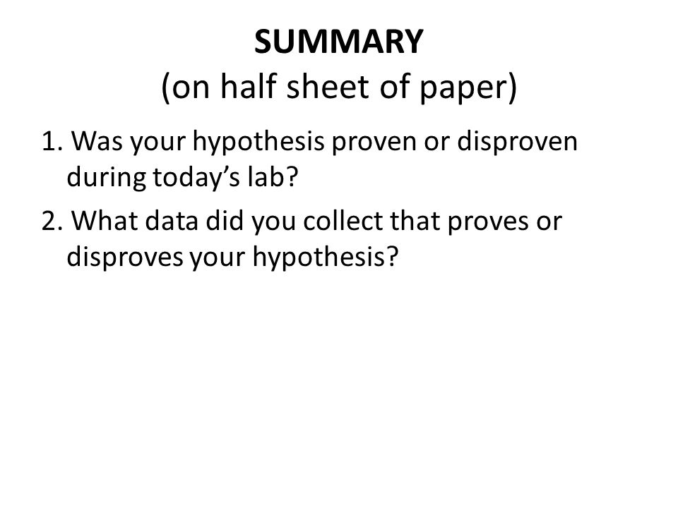 SUMMARY (on half sheet of paper)