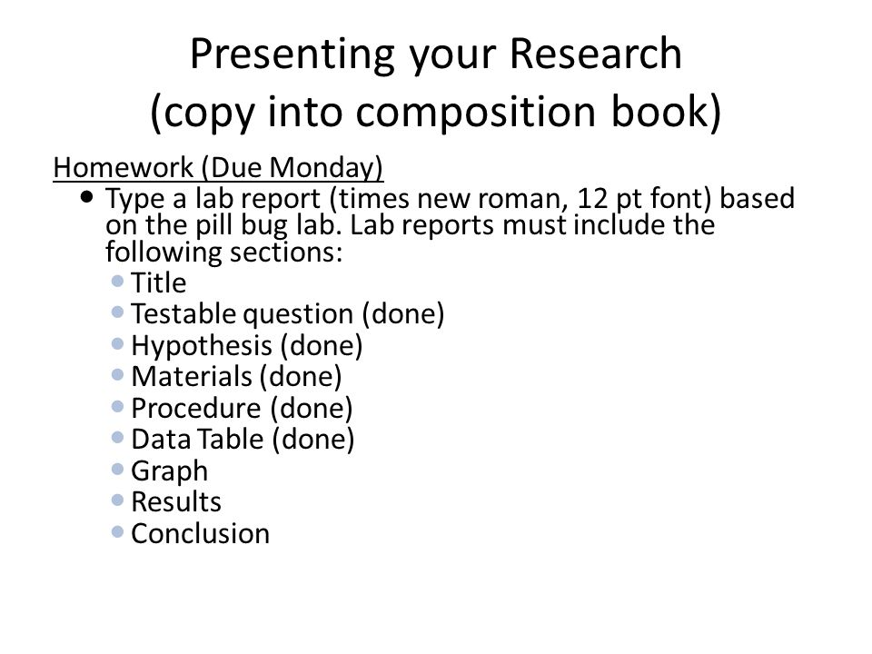 Presenting your Research (copy into composition book)