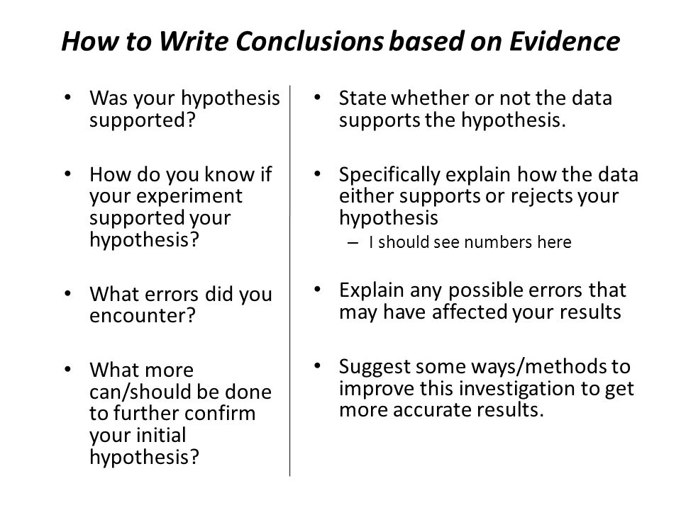 How to Write Conclusions based on Evidence