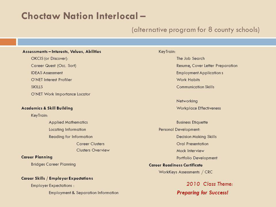 Choctaw Nation Interlocal – (alternative program for 8 county schools)