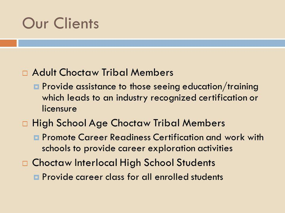 Our Clients Adult Choctaw Tribal Members