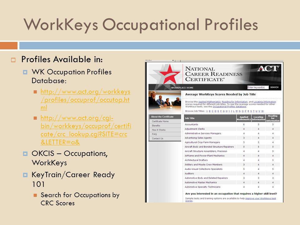 WorkKeys Occupational Profiles