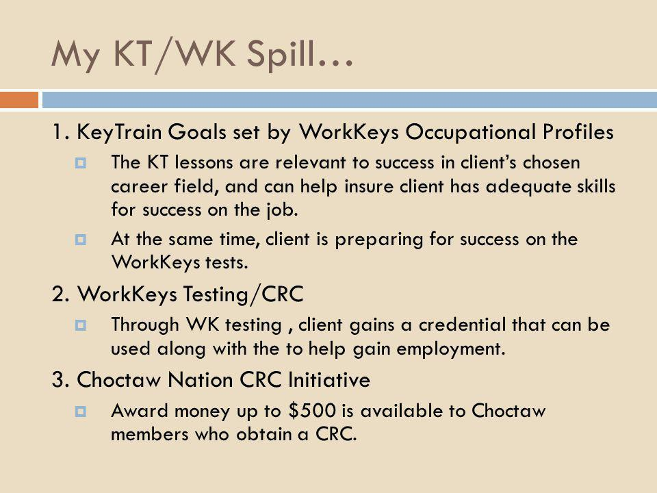 My KT/WK Spill… 1. KeyTrain Goals set by WorkKeys Occupational Profiles.
