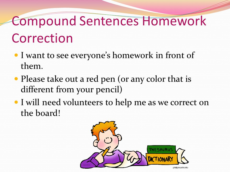 Compound Sentences Homework Correction