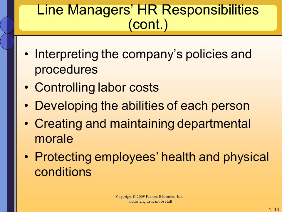 Line Managers' HR Responsibilities (cont.)