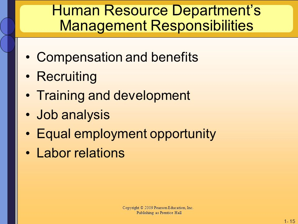 Human Resource Department's Management Responsibilities